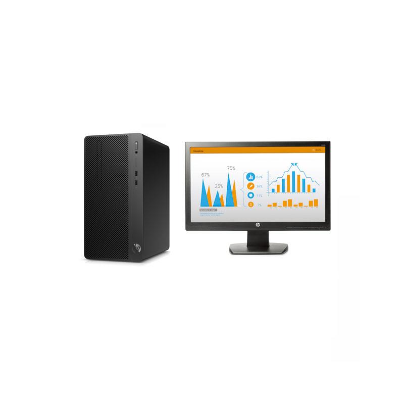 惠普HP 288Pro G4 台式机电脑租赁(I3-9100/8G/256G SSD/核显/惠普V220 21.5英寸显示器)